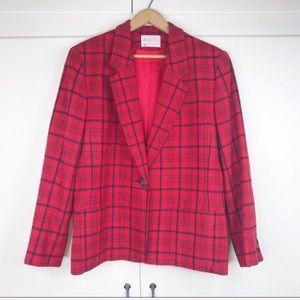 Vintage Pendleton red plaid wool blazer button